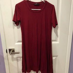 Women's Maroon T-Shirt Dress